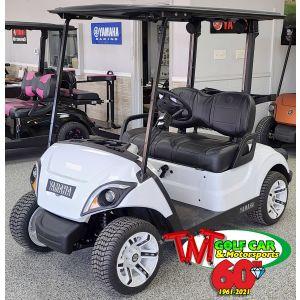 White and Black Custom 2021 Yamaha Drive2 Fleet EFI Golf Car