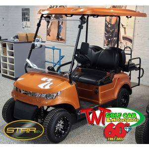 New street legal 2021 Sunburst Orange Street Legal Star EV Capella 48 2+2 LSV Golf Car