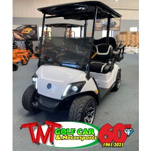 New Custom Glacier White 2021 Yamaha Drive² QuieTech PTV EFI Gas Golf Car with IRS