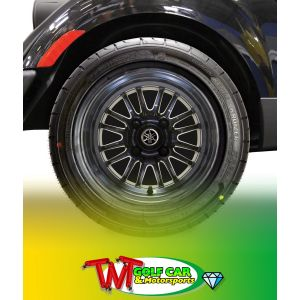 "Passenger Side 12"" 16-Spoke V-Series PTV Radial Alloy Wheel Assembly for Yamaha Golf Car"