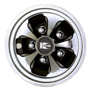 """8"""" Cragar Keystone Wheel Cover-Black/Chrome"""