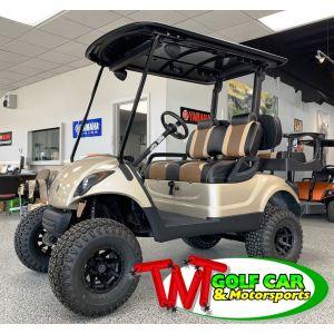 Lifted custom 2010 Yamaha Sandstone and Two-Tone Golf Car