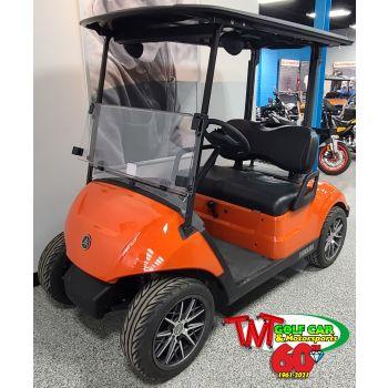 SOLD- Custom Blaze Orange 2021 Yamaha Drive2 EFI Gas Golf Car with big GTW Wheels and Tires